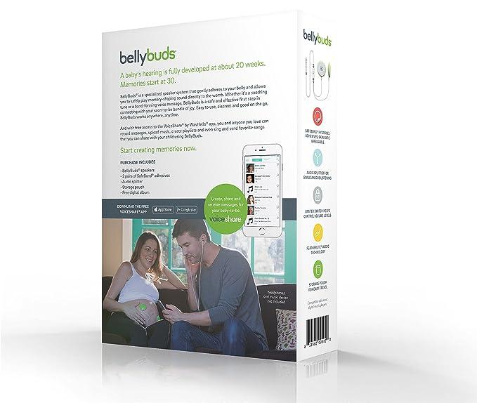 BellyBuds Escucha Bebes | Audífonos Abdominales del Embarazo para Estimulación Auditiva del Bebé Prenatal | Incluye 1 Cable Divisor Audio, ...