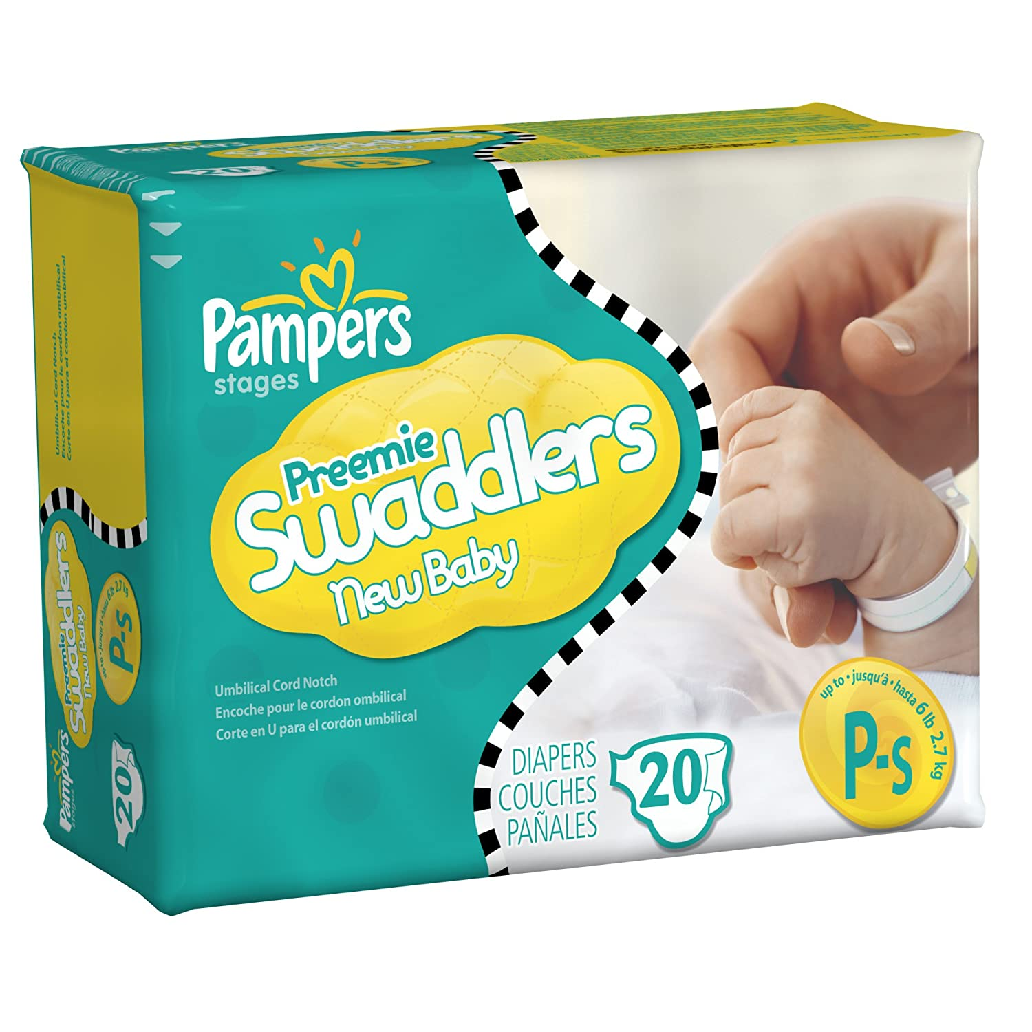 Amazon.com: Pampers Swaddlers Size Preemie Mini Pack 20 Count ...
