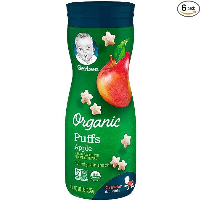 Gerber Organic Puffs, Apple, 6 Count