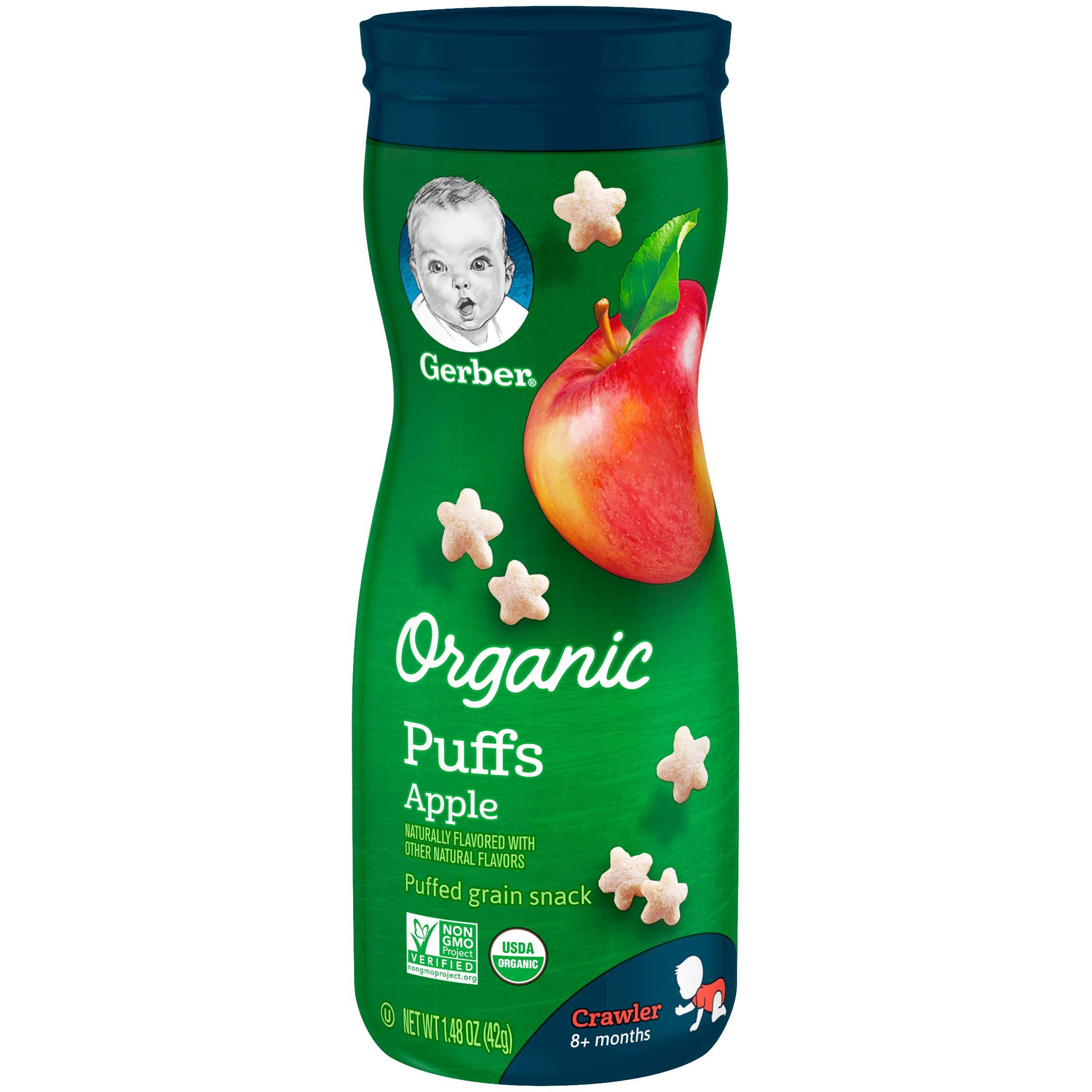 Gerber Organic Puffs Snack, Apple, 6 Count