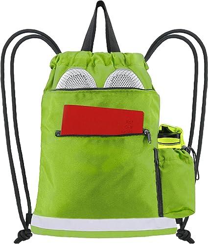 Text Unisex Lightweight Folding Drawstring Bag Yoga Gym Sports Storage Travel Art Backpack
