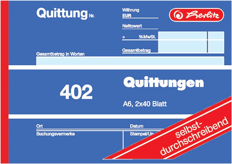Herlitz 7876147 Quittungsblock A6 402 2x40 Blatt 4er Pack selbstdurchschreibend