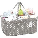 Hinwo Baby Diaper Caddy 3-Compartment Infant Nursery Tote Storage Bin Portable Car Organizer Newborn Shower Basket with Detac
