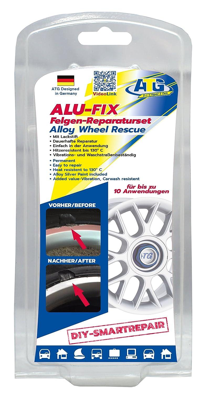 Kit de réparation de jantes ATG ALU-FIX – Mastic spécial pour jantes en aluminium et en acier en cas de dommages de surface – stylo de retouche argent alu-métallisé inclus – DIY S lovely