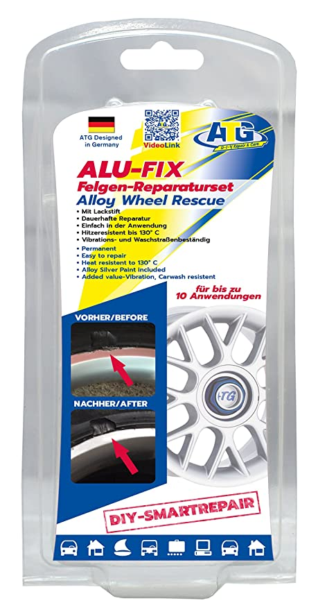 b2891324cf Amazon.com  ATG ALU-FIX Full Alloy Wheel Repair Kit – Fix Surface Damage on  Alloy   Steel Wheels – 13 Piece DIY Smart Repair  Automotive