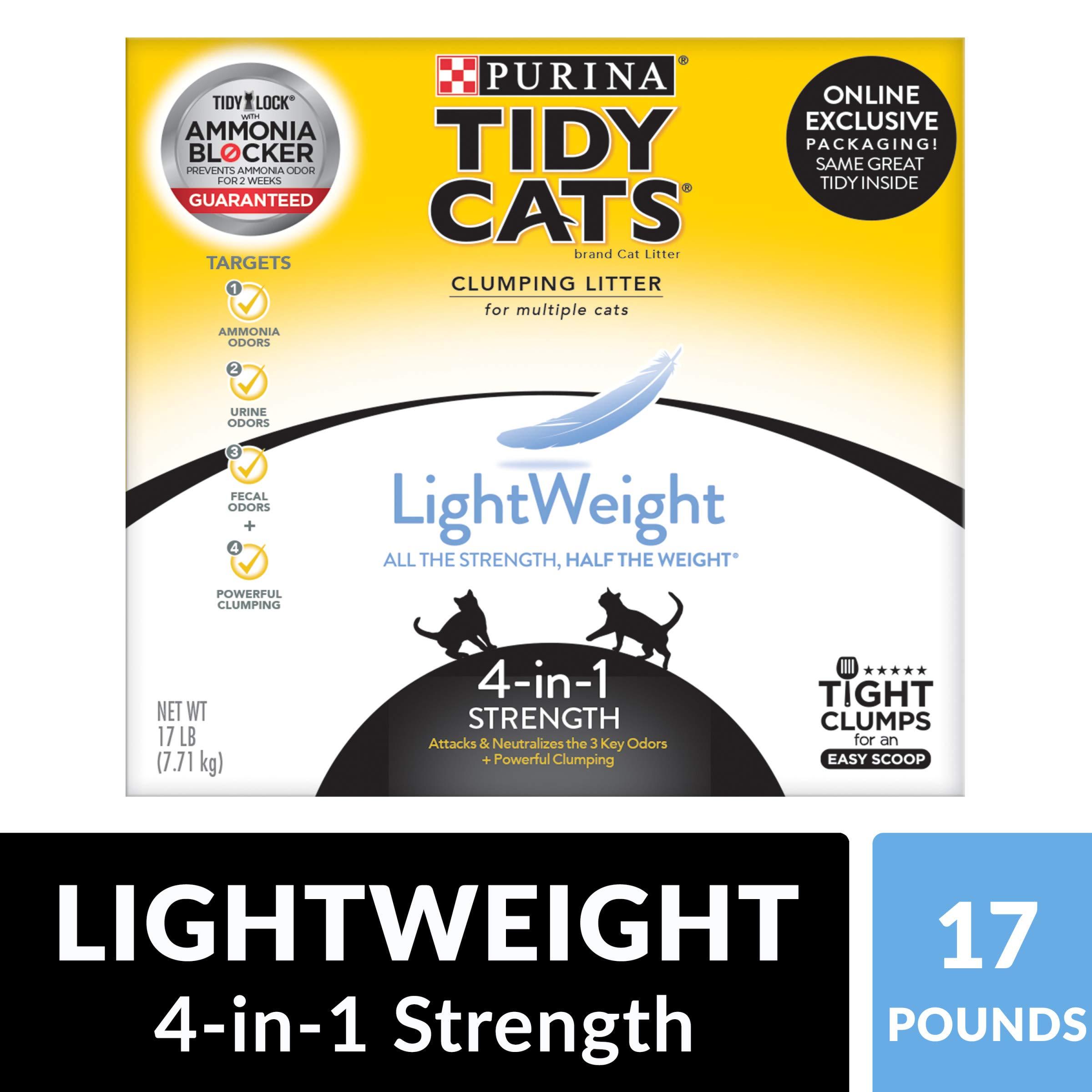 Purina Tidy Cats Light Weight, Dust Free, Clumping Cat Litter; LightWeight 4-in-1 Strength Multi Cat Litter - 17 lb. Box