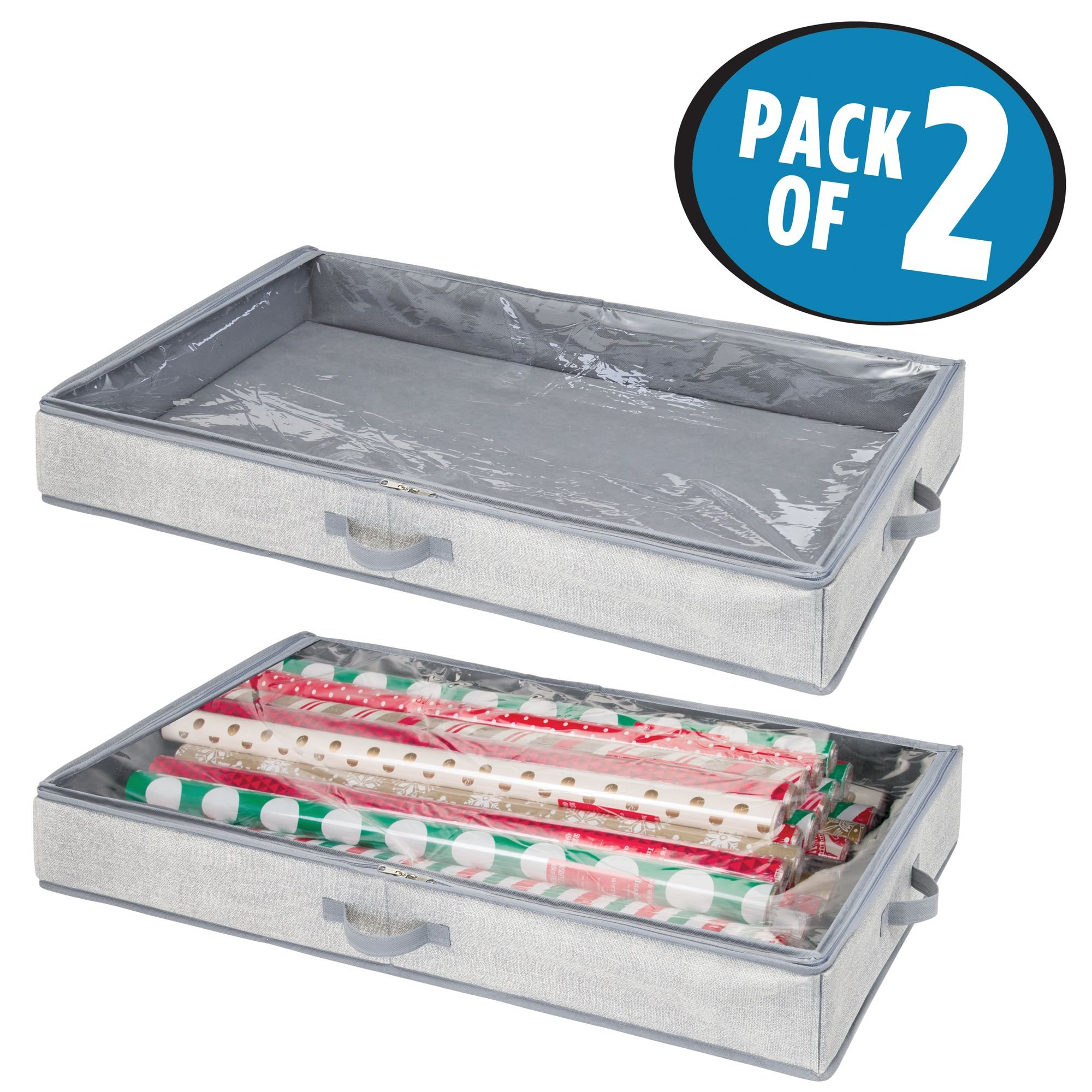 mDesign Soft Fabric Gift Wrap Storage Organizer Holder Box - Low Profile, Easy-View Clear Top Panel, Attached 2-Way Zippered Lid, Side Handles, Stores Long Rolls of Gift Wrap, Pack of 2, Gray by mDesign