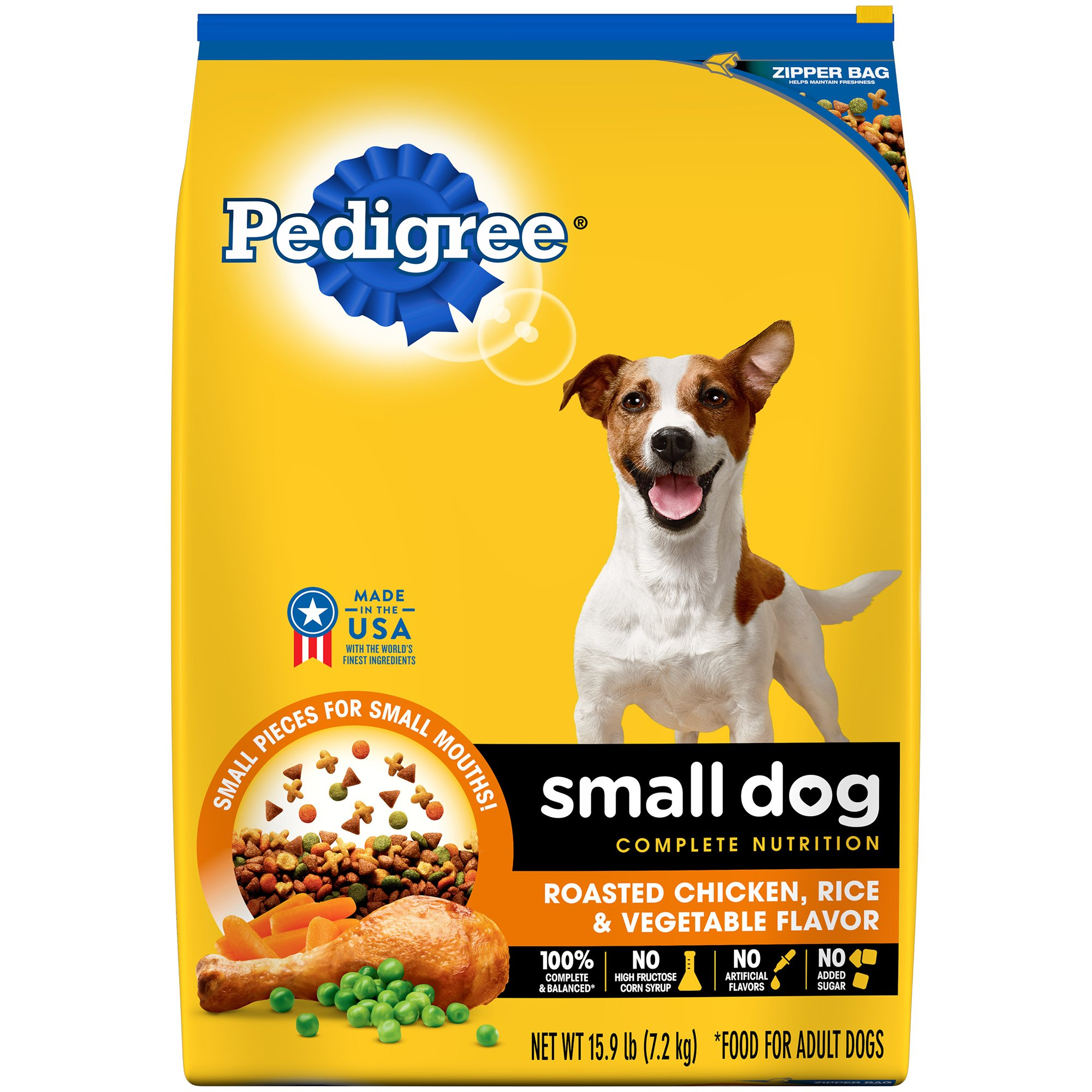 Pedigree Small Dog Complete Nutrition Adult Dry Dog Food Roasted Chicken, Rice & Vegetable Flavor, 15.9 Lb. Bag by Pedigree