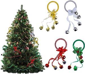 Door Handle Decoration, Set of 12 Jingle Bell Hangers, Door Knob Ornaments, Christmas Tree Decorations, Red, Green, Golden and Silver