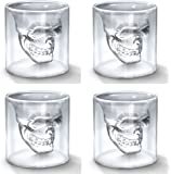 Okayji Skull Doomed Glass Wine Glass, 75 ml, Set of 4, Clear