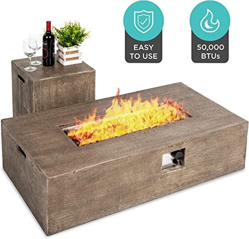 Best Choice Products 48×27-inch 50,000 BTU Outdoor Patio Rustic Farmhouse Wood Finish Propane Fire Pit Table and Gas Tank Storage Side Table w Weather-Resistant Pit Cover, Lava Rocks, Brown
