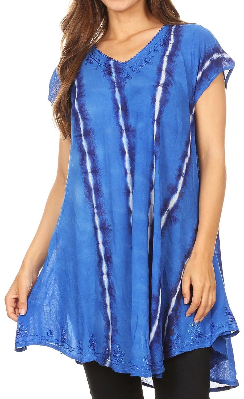 Sakkas Maite Womens Tie Dye V-Ausschnitt Tunika Top ethnischen Sommer Stil Flowy w/Pailletten