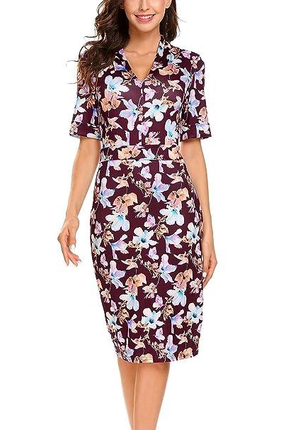 b4efa2e07 Meaneor Women Vintage Floral V-Neck Flower Cheongsam Chinese Short Sleeve  Office Pencil Bodycon Dress