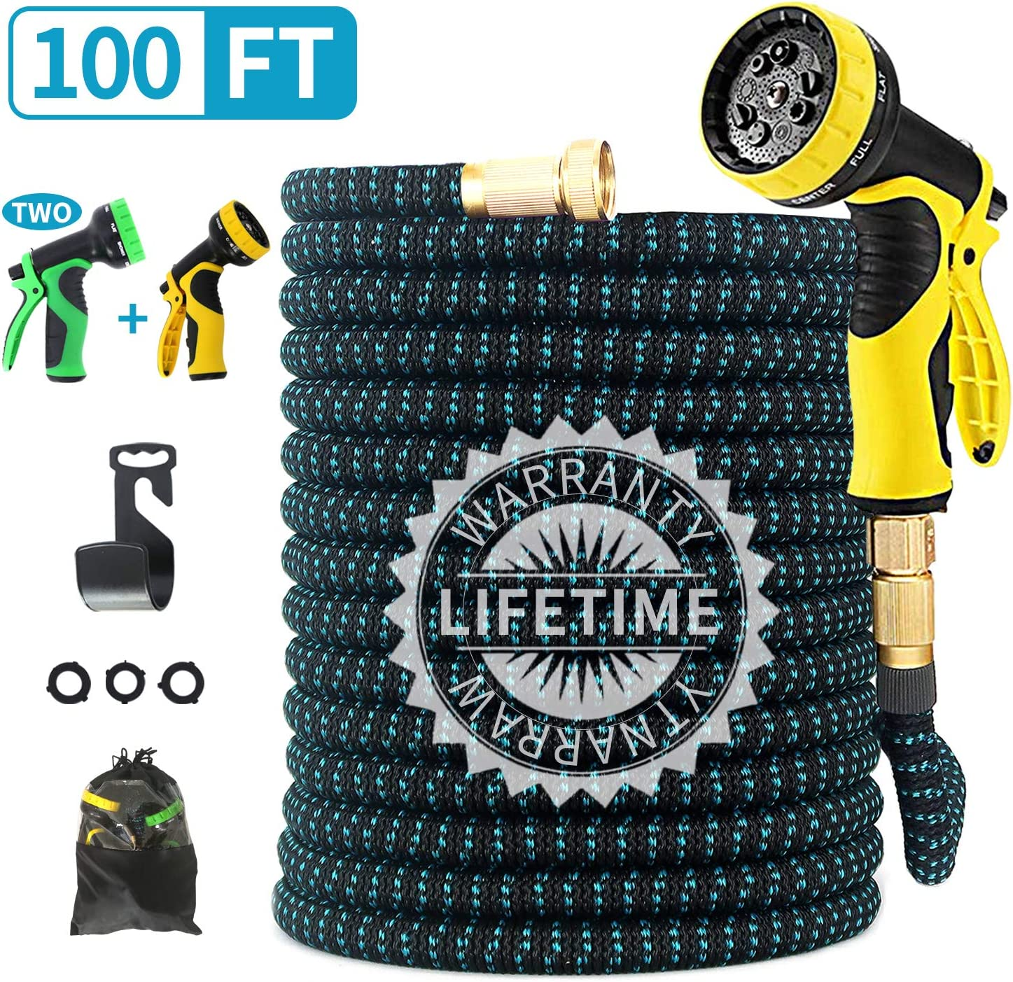 "FIENVO 100ft Upgraded Expandable Durable No-Kink Flexible Garden Water Hose Set with Extra Strength Fabric Triple Layer Latex Core,3/4"" Solid Brass Connectors 9 Function Spray Hose Nozzle"