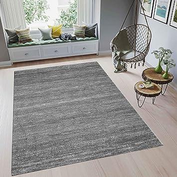 VIMODA Wohnzimmer Teppich Modern Meliert Kurzflor Farbechtheit Pflegeleicht  in GRAU 120x170 cm