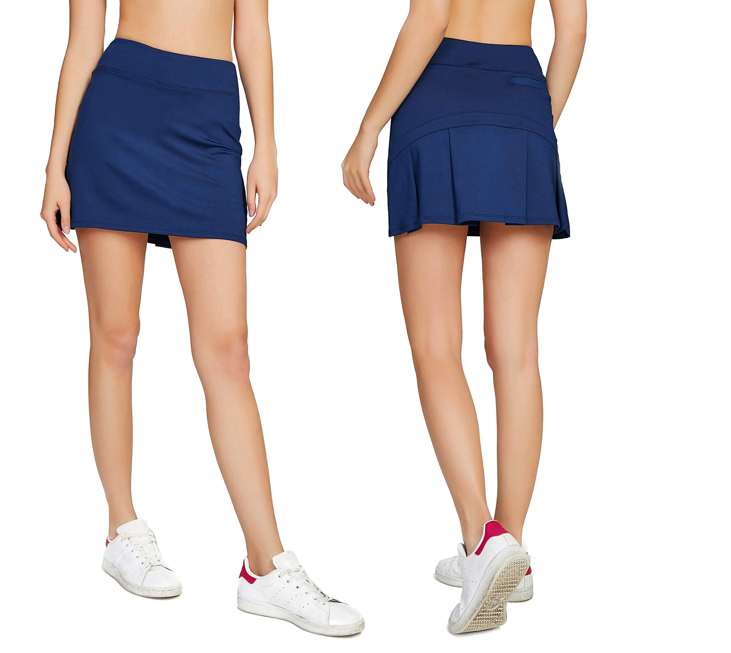 Women's Casual Pleated Tennis Golf Skirt with Underneath Shorts Running Skorts d_bu xs