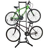RaxGo Bike Garage Storage Rack, 2 Bicycle Garage Floor Stand, Adjustable, Freestanding, Adjustable Hooks, For Mountain & Road
