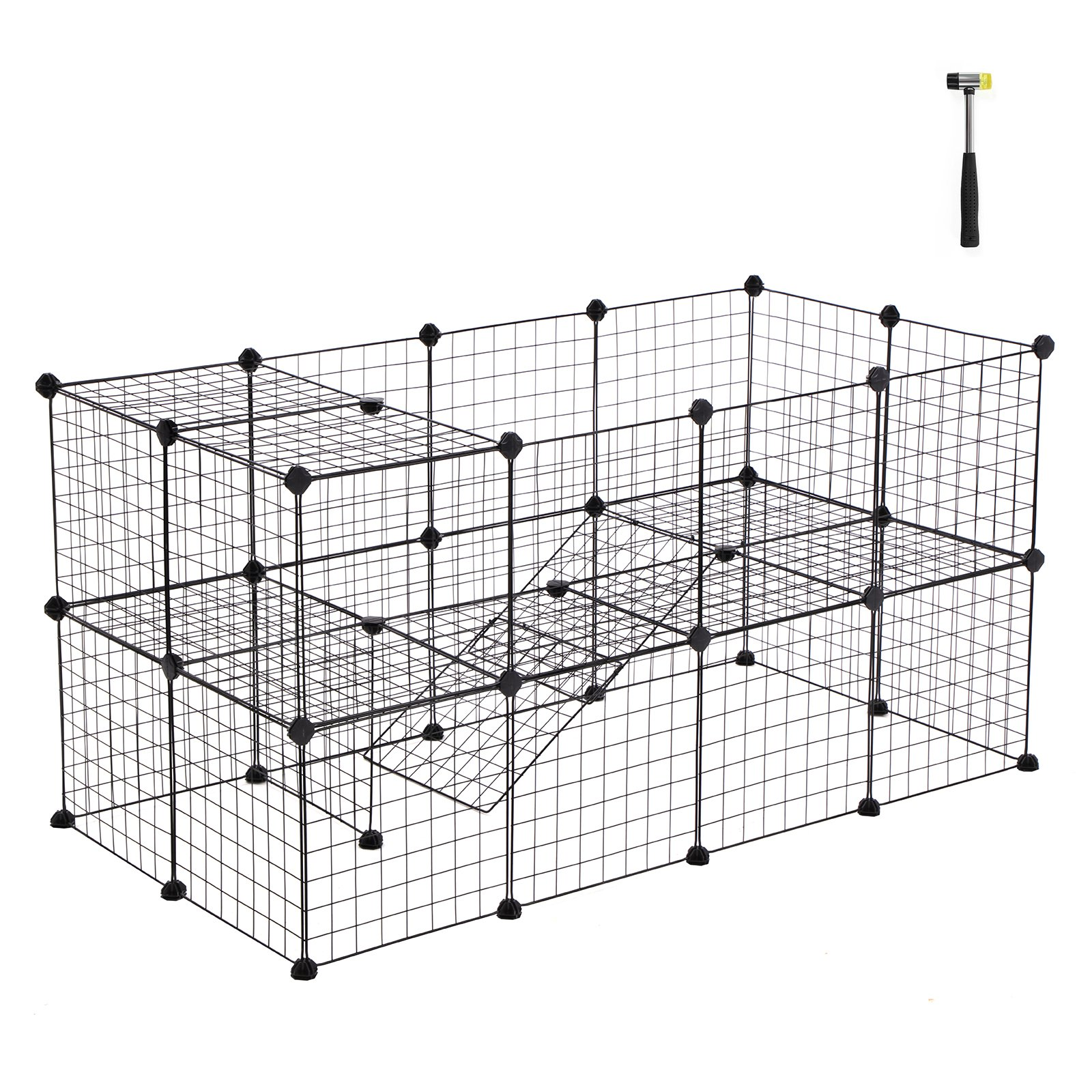 SONGMICS Small Pet Playpen, Metal Wire Apartment-Style Two-Storey Animal Fence and Kennel, Comfortable Pet Premium Villa for Guinea Pigs, Rabbits, Includes Rubber Mallet for Indoor Use ULPI02H
