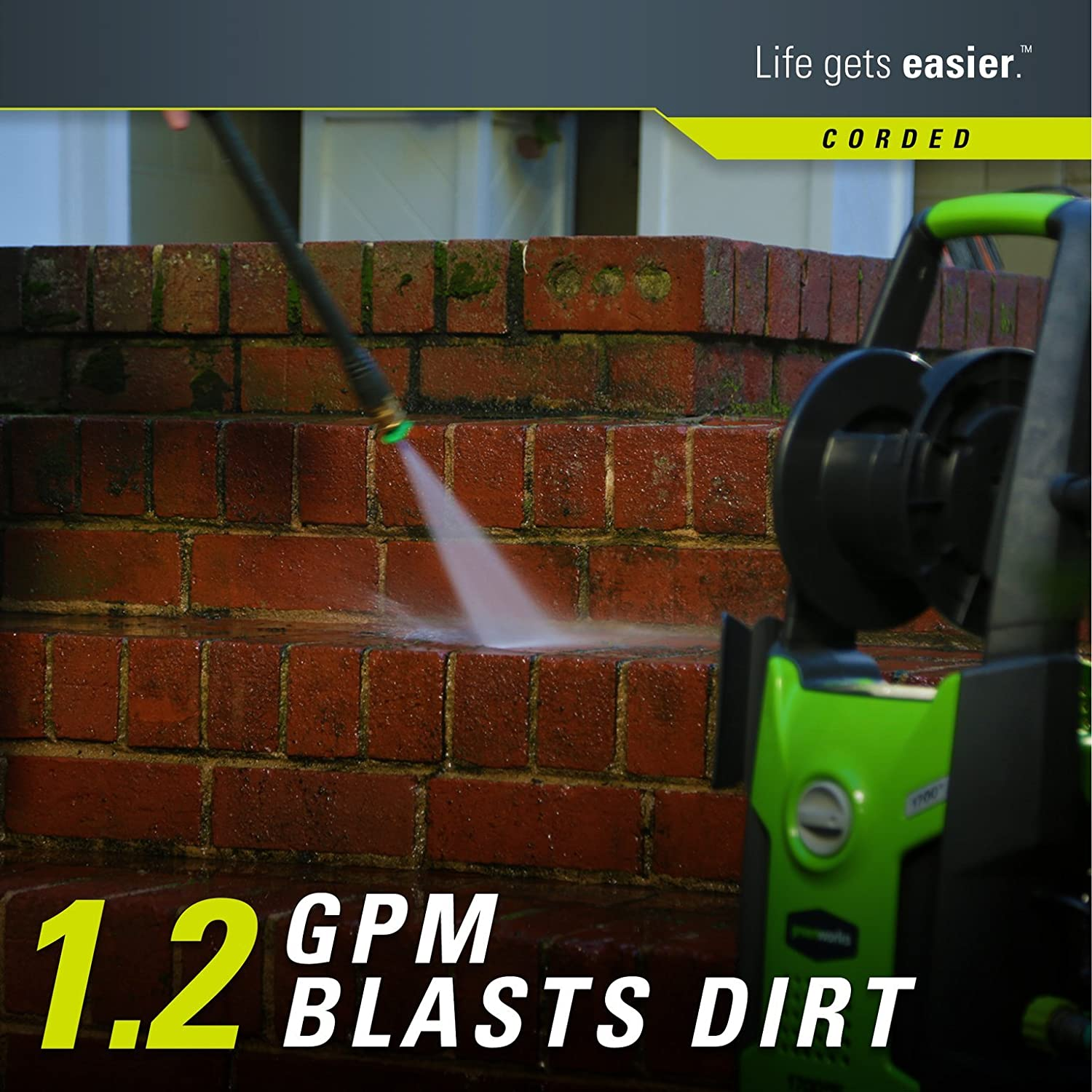 Amazon.com: Greenworks 1700 PSI 13 Amp 1.2 GPM Pressure Washer with ...