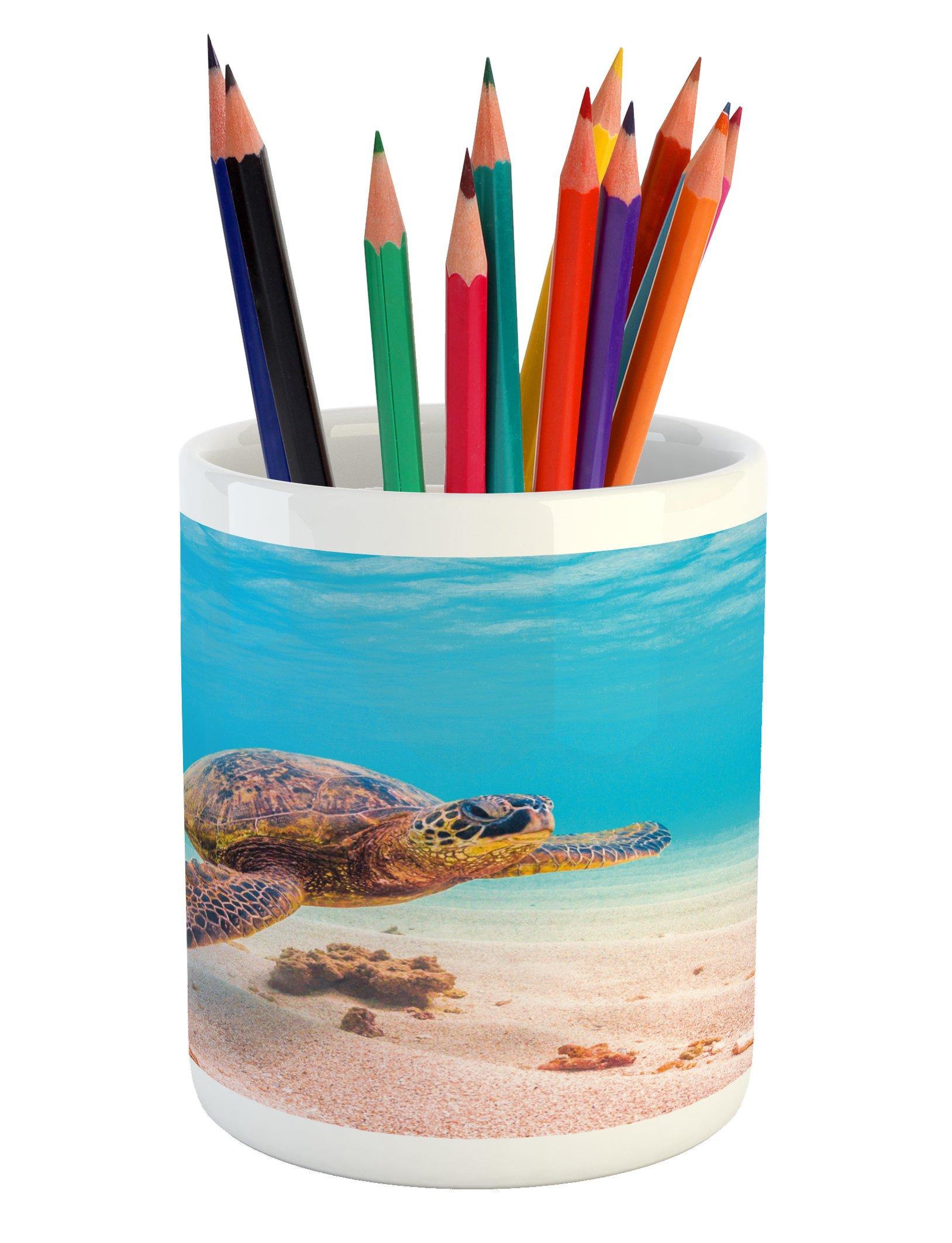 Ambesonne Turtle Pencil Pen Holder, Hawaiian Green Sea Turtle Cruises in Warm Waters of The Pacific Ocean Photo, Printed Ceramic Pencil Pen Holder for Desk Office Accessory, Aqua Cinnamon Brown
