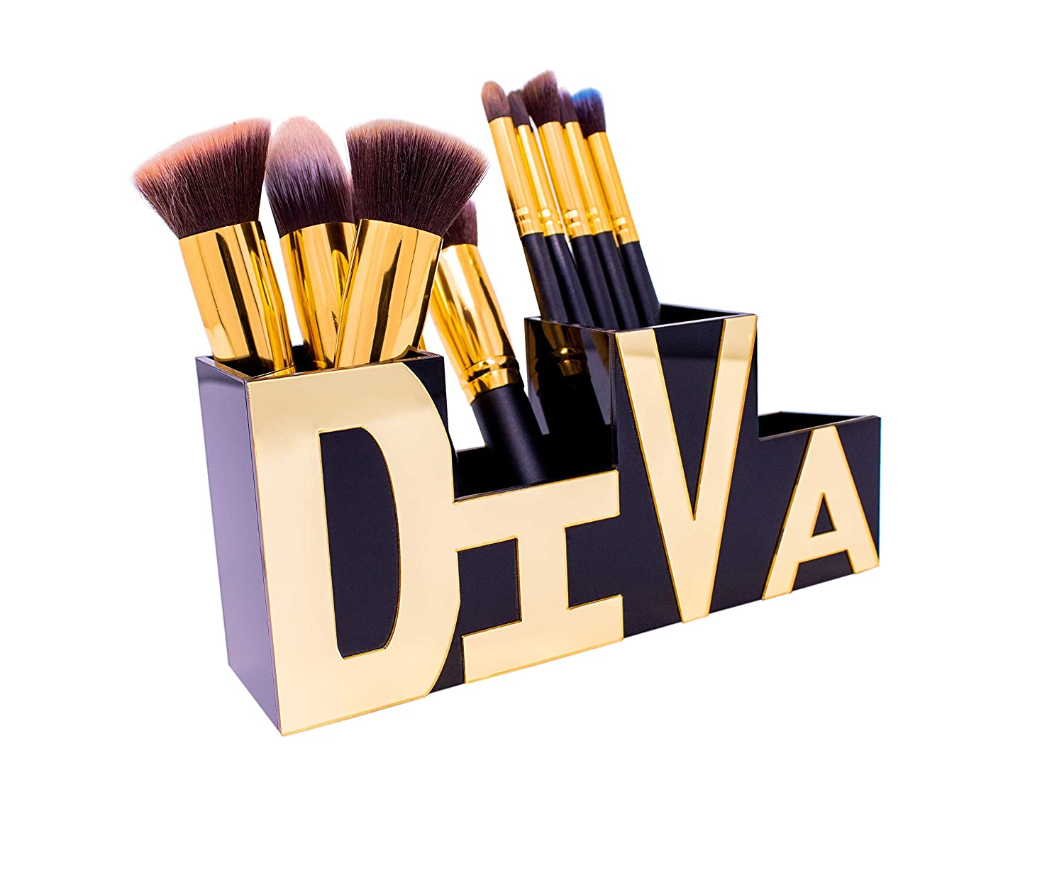 Makeup Brush Holder-Desk Organizer – Beautifully Stylized Diva Makeup Organizer & Pen Holder – Office Supply Holder - Brush Holder Boxes