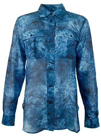 ca01cbcf Lauren Ralph Lauren Womens Silk Blend Tie-Dye Button-Down Top at Amazon  Women's Clothing store: