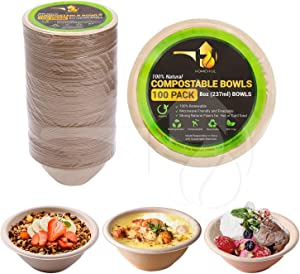 Disposable Paper Bowls - 100pack 8oz Compostable Paper Bowls- For Condiments, Ice Cream, Chili, Dessert and Chip Dips- Made of Natural Sugarcane Bagasse- Eco-friendly, Biodegradable and Microwave-Safe