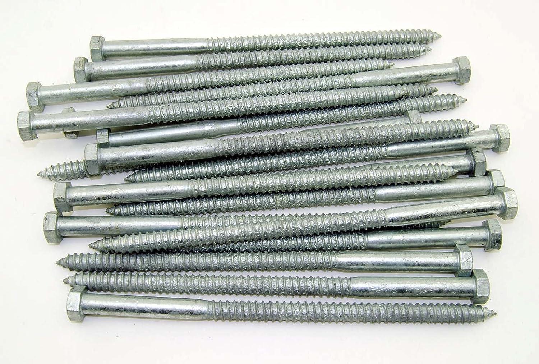 5 pcs Hex Head Lag Screw Bolts 3//8 X 9 Hot Dip Galvanized Steel