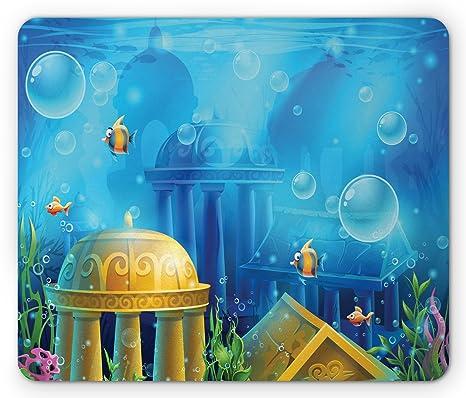 Amazon Com Lunarable Ocean Mouse Pad Atlantis Theme Under