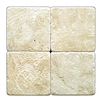 Durango Cream 6 X 6 Travertine Tumbled Tile Box Of 5 Sq Ft