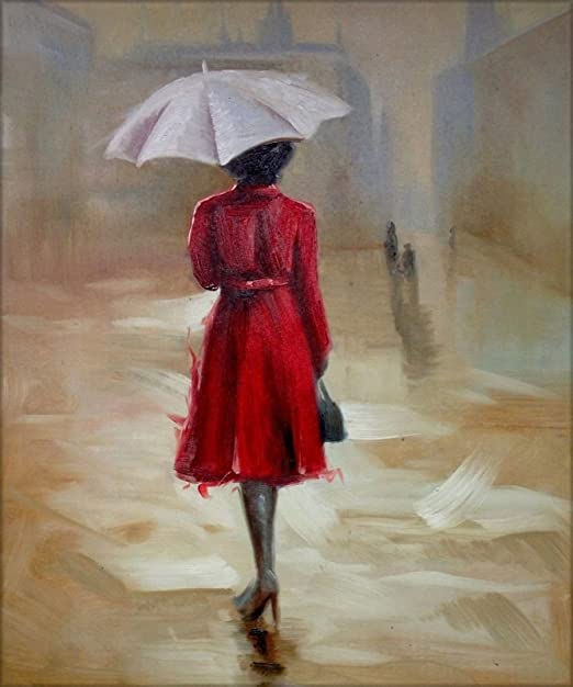 Red Dress Under Umbrella On Framed Canvas Wall Art Prints Decoration Pictures