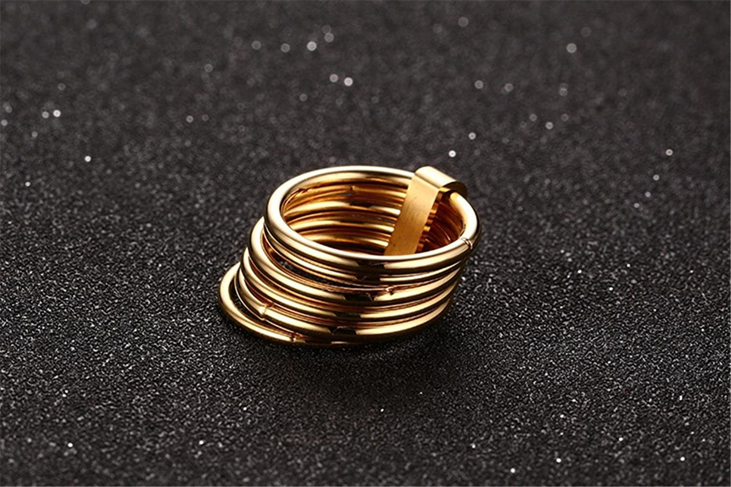 Womens Fashion Creative Pave Jewelry 10mm Stainless Steel 18k Gold Plated Multiple Circles Cocktail Ring Comfort Fit