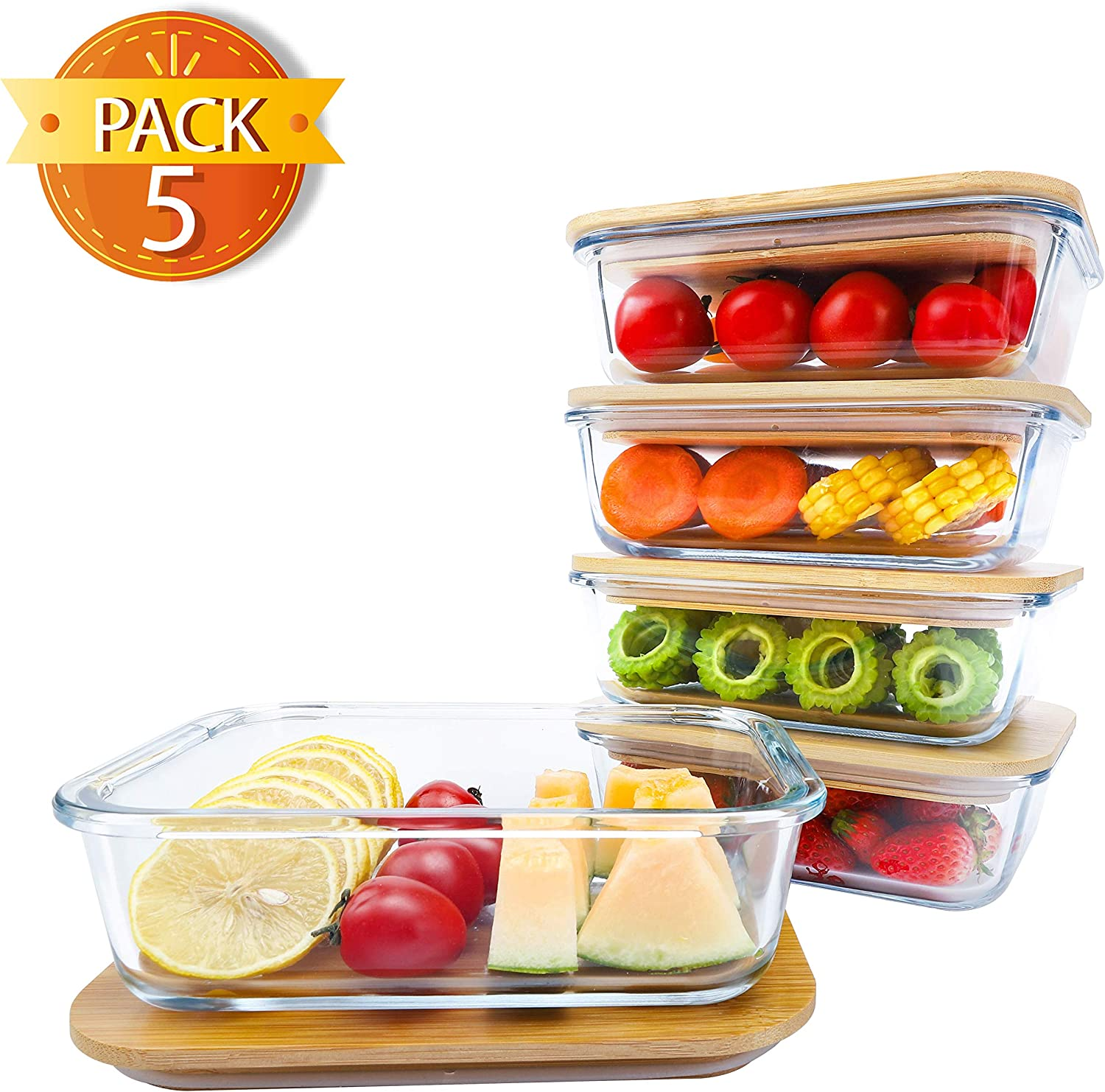 BlueHills Premium Glass Meal Prep Lunch Containers with bamboo Lids Plastic Free Glass Food Containers BPA-Free Microwave Oven Freezer Dishwasher Safe 5 pack set 10 pieces (G004 bamboo lid)