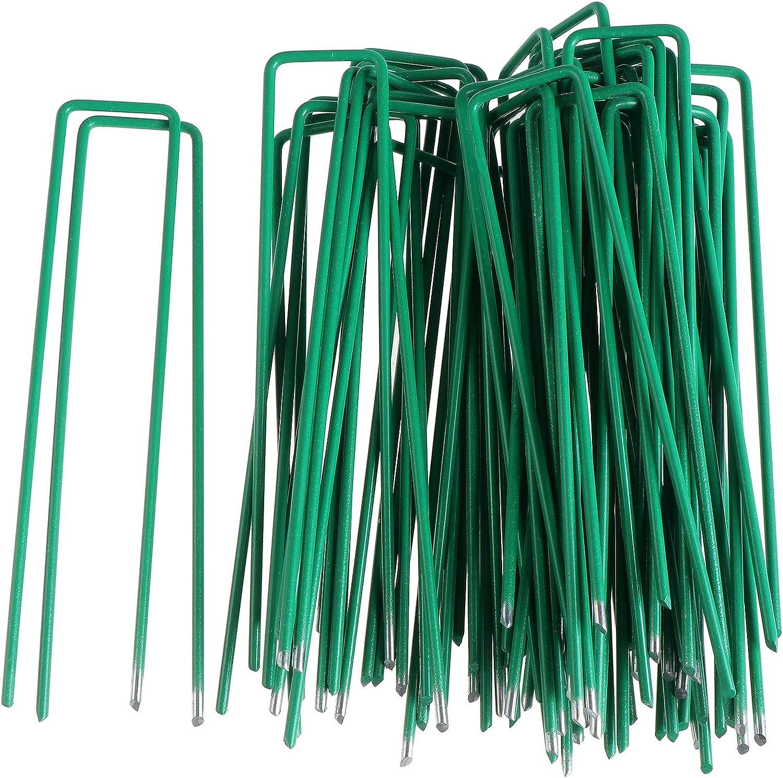 Color 50 clavijas de jard/ín 6 pulgadas U clavijas de seguridad Pins grapas de acero galvanizado estacas de tierra para asegurar la tela de malezas,