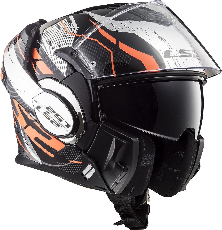 Motorradhelm Valiant Roboto Schwarz Orange Chrome LS2