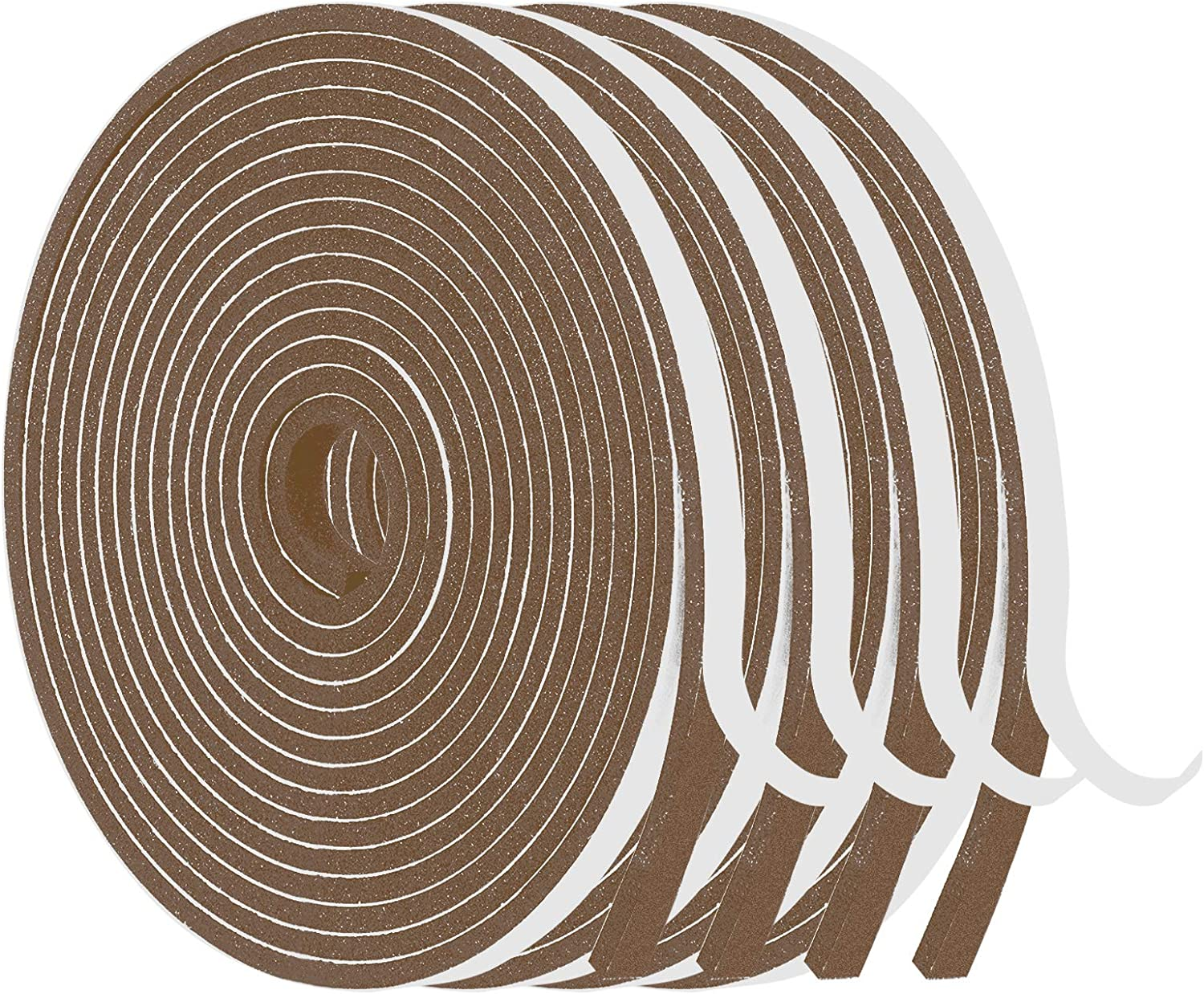 Foam Weatherstrip-4 Rolls, 1/4 Inch Wide X 1/8 Inch Thick Total 26 Feet Long, Brown Weather Stripping for Door and Window Insulation, Soundproof Foam Seal Tape (6.5ft x 4 Rolls)