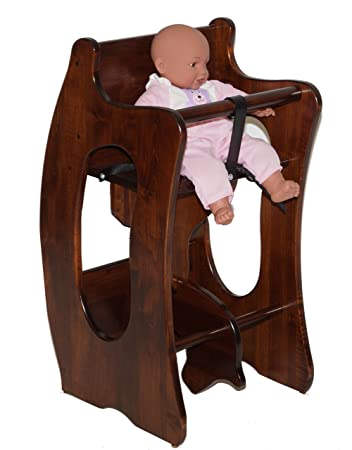 Amish 3 In 1 High Chair, Rocking Horse, And Writing Desk In Solid Brown