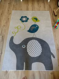 Kinderteppich elefant blau  Amazon.de: benuta Kinderteppich Birdies and Elephant Blau 80x150 ...