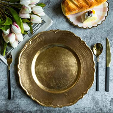 Tableclothsfactory 13  Metallic Gold Scalloped Edge Acrylic Plastic Charger Plates for Table Decor -Set of 6