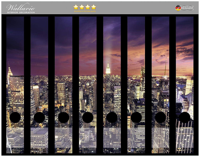 Wallario Ordnerrücken selbstklebend für 6 breite Ordner Fernsehturm Berlin Nacht