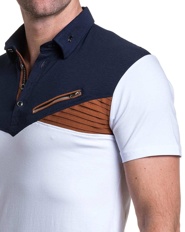 BLZ jeans - Polo tricolor Mann zip Rippen - Color: Weiss, Size: XXXL:  Amazon.de: Bekleidung