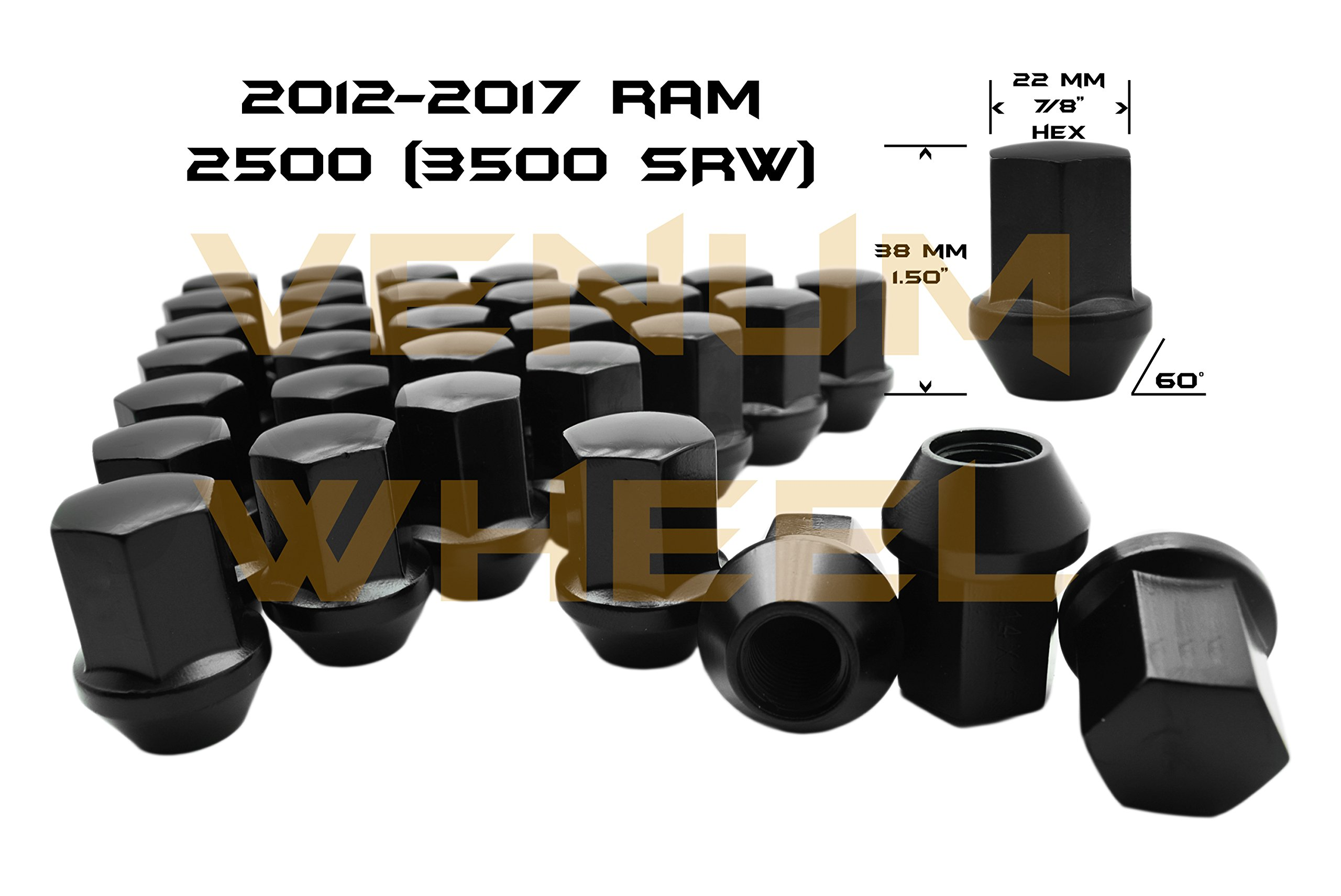 32 Pc 2012-2017 Ram 2500 Black OEM Factory Style Black Lug Nuts M14x1.5 W/ 22MM Hex Close End 1.5'' Tall 8x6.5'' New Models Made In USA by Venum wheel accessories