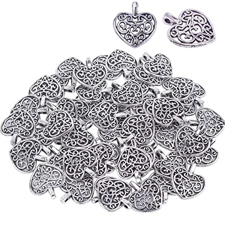 30X Antique Silver Alloy Hollow Heart Charms Pendants Findings Crafts DIY