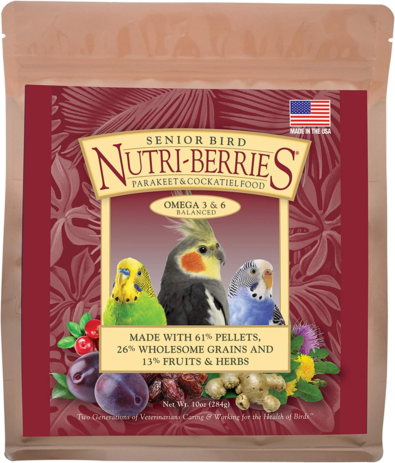 LAFEBER'S Senior Bird Nutri-Berries Pet Bird Food, Made with Non-GMO and Human-Grade Ingredients