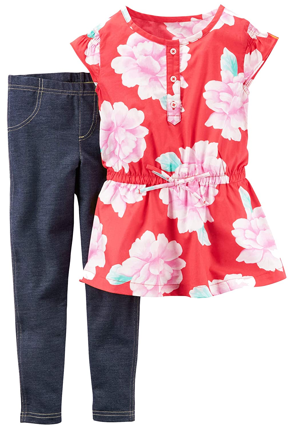 Carters Girls 2-Piece Button Front Floral Tunic /& Knit Jean Pull-On; Red 6X