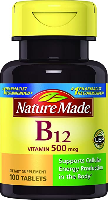 1e8db215ff6 Amazon.com  Nature Made Vitamin B12 500 mcg. Tablets 100 Ct  Health ...