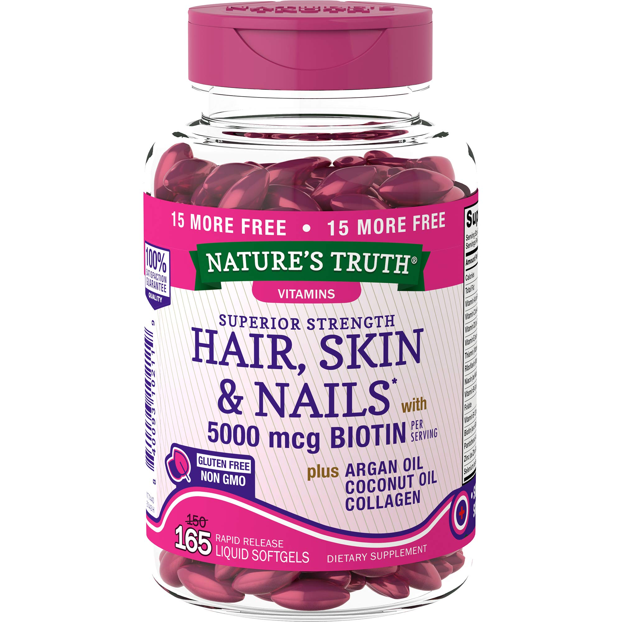 Nature's Truth Superior Strength Hair/Skin/Nails with Argan/Coconut Oil/Collagen, 165 Count, Multicolor