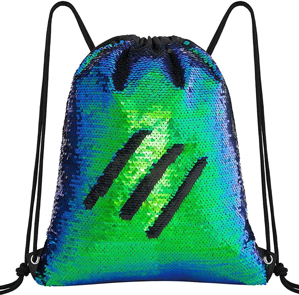 GREY MAGICAL UNICORN DRAWSTRING BAG Dance School Gym Swim PE Shoulder Backpack