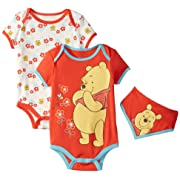 Disney Baby-Girls Winnie The Pooh Bodysuits and Bib, Orange, 6-9 Months (Pack of 3)