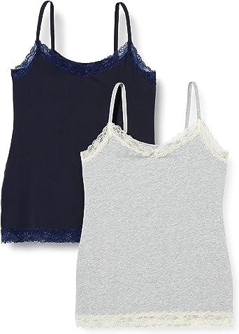 Marca Amazon - IRIS & LILLY Camiseta de Tirantes con Encaje Body Natural para Mujer, Pack de 2: Amazon.es: Ropa y accesorios